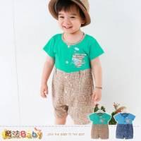 連身衣~百貨專櫃正品純棉包屁衣 A藍.B綠 ~嬰兒服~魔法Baby~k35179