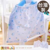居家短褲~台灣製清涼緹花布男女童短褲 藍.粉 ~ 0~12M ~魔法Baby~h1112