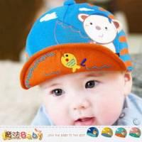 嬰幼兒帽子 寶寶遮陽帽 深藍.水藍.粉.黃 魔法Baby~k35605