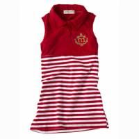 艷陽紅-夏日海軍風無袖連身洋裝