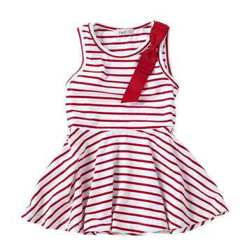 紅白-條紋緞帶蝴蝶結連身洋裝