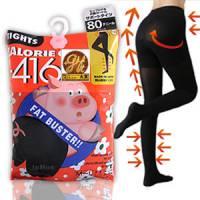 【日本小豬襪】階段式著壓平腹翹臀美腿褲襪 黑色80丹尼