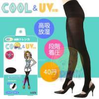 【美人欲望】日本製Cool涼感 豔陽對策40丹階段式著壓美腿踩腳褲襪 黑色