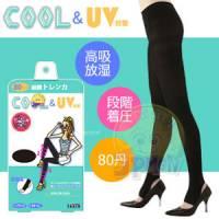 【美人欲望】日本製Cool涼感 豔陽對策80丹階段式著壓美腿踩腳褲襪 黑色