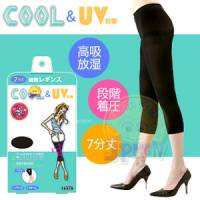 【美人欲望】日本製Cool涼感 豔陽對策階段式著壓7分丈美腿褲襪 黑色