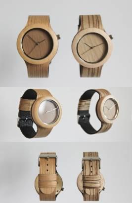 把原木掛在手上,全天然手工木錶
