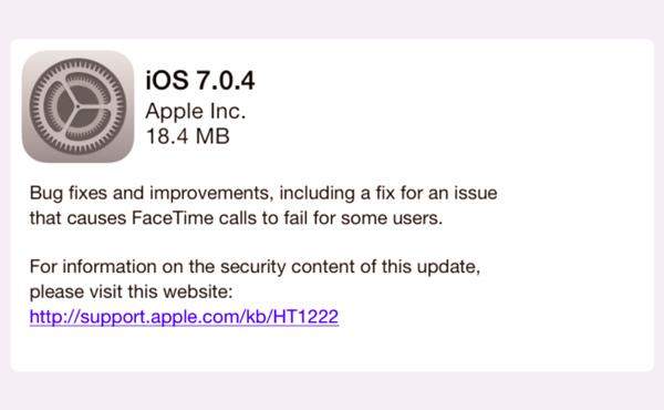 iOS 7.0.4更新推出, 帶來修正及改善