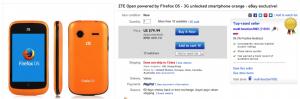 Firefox OS的亞洲開發者現可自 eBay 訂購 ZTE Open