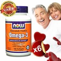 《NOW健而婷》Omega-3深海魚油 100顆 瓶 六瓶組