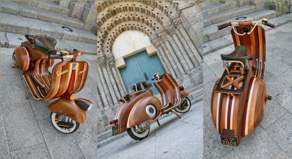 超威猛老爸,為女兒打造木雕偉士牌摩托車