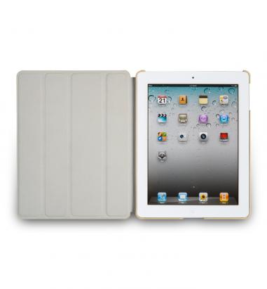 New iPad-Vellum-蜥蜴皮紋對開皮套-淺褐色