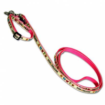 可愛風格款-粉紅絲印狗狗拉頸繩