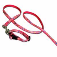 粉紅狗狗圖案花邊項圈牽繩組