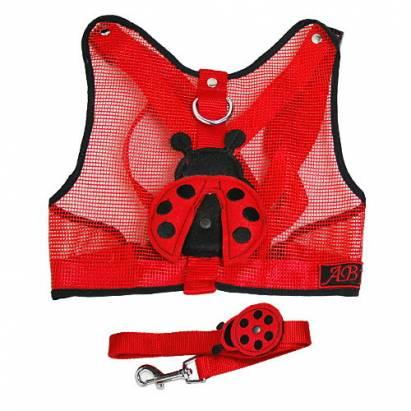 可愛小瓢蟲透氣胸背衣牽繩組(紅)