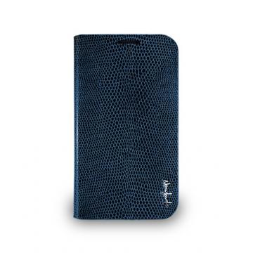 Galaxy S4- 蜥蜴皮紋側掀式皮套- 翠藍色