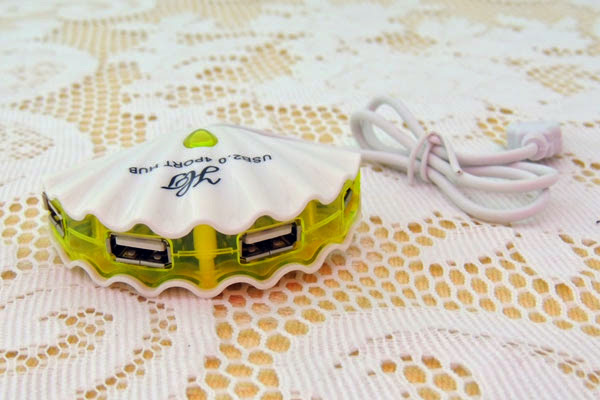 貝殼USB HUB2.0分線器集線器(1接4)
