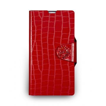 Sony Xperia Z1- 鱷魚壓紋站立式皮套- 嫣紅色