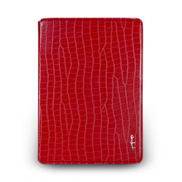 iPad Air- 鱷魚壓紋站立式保護套- 嫣紅色