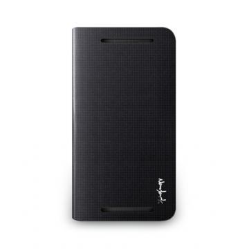 hTC One M8- 方格壓紋皮套- 碳黑色