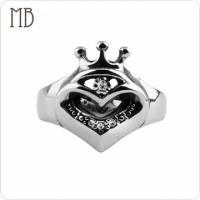 【MB流行鋼飾】皇冠系列「愛心皇冠」白鋼戒指