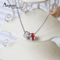 【ARGENT銀飾】迷你系列「祈願小圈 紅+白鑽 白K金 」純銀項鍊 2墜1鍊