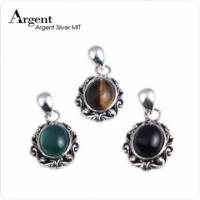 【ARGENT銀飾】天然石系列「復古寶鏡 黑瑪瑙 綠瑪瑙 虎眼紋石 」純銀項鍊 3選1 單條價