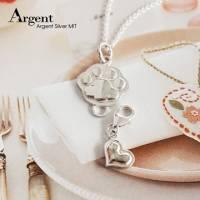 【ARGENT銀飾】隨意扣系列「貓掌 中 +立體愛心」純銀項鍊 以中貓掌主體基底,下面可隨意扣上喜歡的小墜