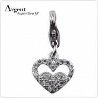 【ARGENT銀飾】隨意扣系列「晶鑽雙心 白K金 」純銀單墜 活動扣