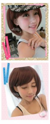 【LWJHD009】玉米鬚X直混搭MIX紅棕短髮