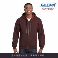 GILDAN 總代理-100 美國棉 素面經典復古連帽拉鏈外套-274C赤褐色