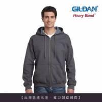 GILDAN 總代理-100 美國棉 素面經典復古連帽拉鏈外套-276C粗花呢色
