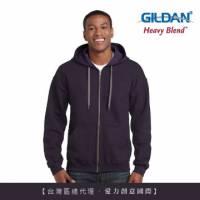 GILDAN 總代理-100 美國棉 素面經典復古連帽拉鏈外套-278C黑莓色