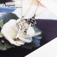 【ARGENT銀飾】鑰匙系列「優雅花鑰」純銀項鍊 無染黑款 染黑款 單條價