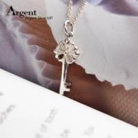 【ARGENT銀飾】鑰匙系列「優雅花鑰」純銀項鍊 無染黑款 單條價