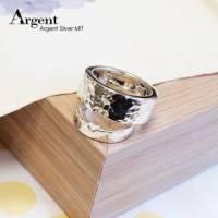 【ARGENT銀飾】情人對戒系列「情定烙印 敲打戒.男女戒拼起來有小愛心 8mm+6mm」純銀對戒 一對價