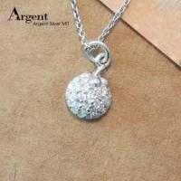【ARGENT銀飾】微鑲鉑銀閃亮系列「晶鑽小瓢蟲 白K金 」純銀項鍊