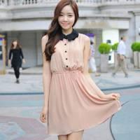 時尚伊人 韓版甜美OL翻領洋裝連身裙 顏色偏橘 -S M L