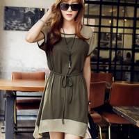 時尚伊人 韓版拼色氣質細腰帶收腰短袖洋裝連身裙-M