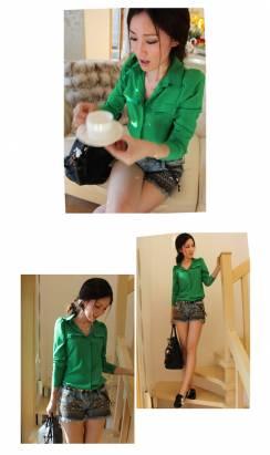 時尚伊人 韓版糖果色泡泡袖顯瘦襯衫-S/M/L