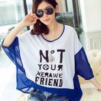 時尚伊人 韓版拼接英文字母圓領寬鬆蝙蝠袖T恤-S M L