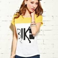 時尚伊人 韓版撞色拼接字母寬鬆短袖T恤-M L