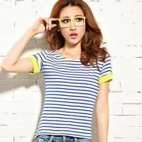 時尚伊人 韓版條紋短袖T恤-M L
