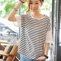 時尚伊人 甜美休閒條紋寬鬆拼接短袖T恤-M