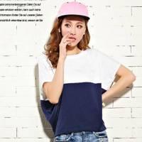 時尚伊人 韓版寬鬆百搭拼接色蝙蝠短袖T恤-S M