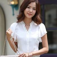 時尚伊人 韓版時尚甜美立領抽袖雪紡襯衫-S M L