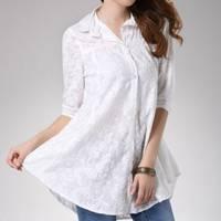 時尚伊人 甜美寬鬆型七分次袖棉麻襯衫-M