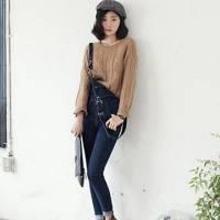 時尚伊人 韓版單排扣緊身背帶牛仔褲