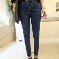 時尚伊人 韓版百搭兩顆扣深色高腰顯瘦牛仔褲