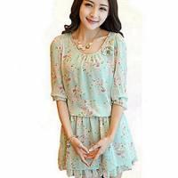 時尚伊人 日本熱銷圓領碎花中袖修身雪紡洋裝連身裙-M L XL
