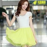 時尚伊人 韓國熱銷珍珠雪紡拼接圓領短修洋裝連身裙-M L XL